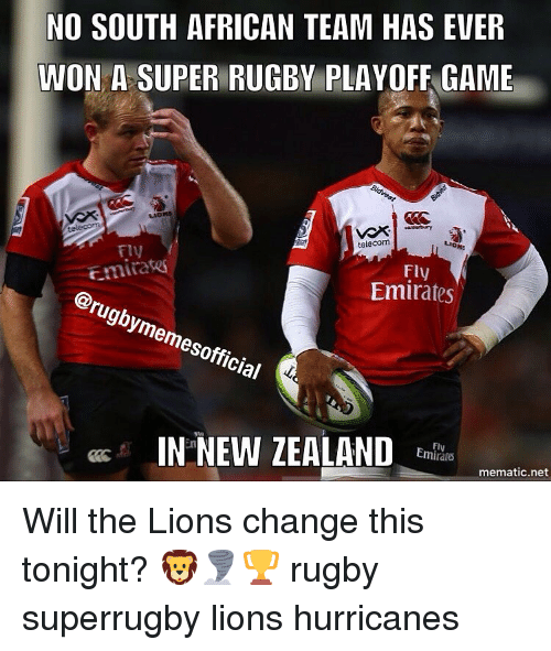 Emirates, Game, and Games: NO SOUTH AFRICAN TEAM HAS EVER  WON A SUPER RUGBY PLAYOFF GAME  Bidvest  telecom  FIN  Emira  Emirates  So  IN NEW ZEALAND  Emirare  mematic net Will the Lions change this tonight? 🦁🌪🏆 rugby superrugby lions hurricanes