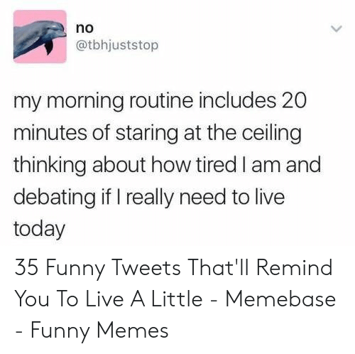 memebase: no  @tbhjuststop  my morning routine includes 20  minutes of staring at the ceiling  thinking about how tired I am and  debating if I really need to live  today 35 Funny Tweets That'll Remind You To Live A Little - Memebase - Funny Memes