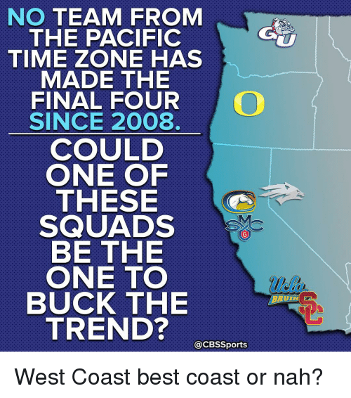 bruin: NO TEAM FROM  THE PACIFIC  TIME ZONE HAS  MADE THE  FINAL FOUR  SINCE 2008.  COULD  ONE OF  THESE  SQUADS  BE THE  ONE TO  BUCK THE  TREND?  CBSSports  BRUIN West Coast best coast or nah?