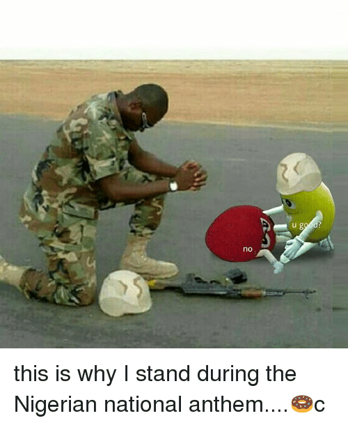 Memes, National Anthem, and 🤖: no this is why I stand during the Nigerian national anthem....🍩c
