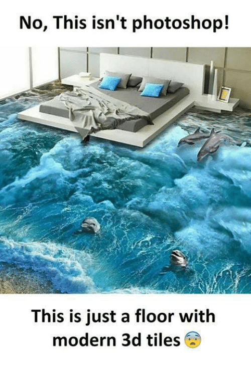 Photoshoper: No, This isn't photoshop!  This is just a floor with  modern 3d tiles 6