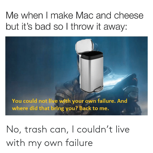 trash can: No, trash can, I couldn't live with my own failure