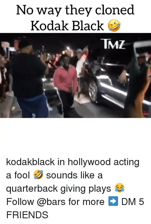Kodak Black: No way they cloned  Kodak Black  TMZ kodakblack in hollywood acting a fool 🤣 sounds like a quarterback giving plays 😂 Follow @bars for more ➡️ DM 5 FRIENDS