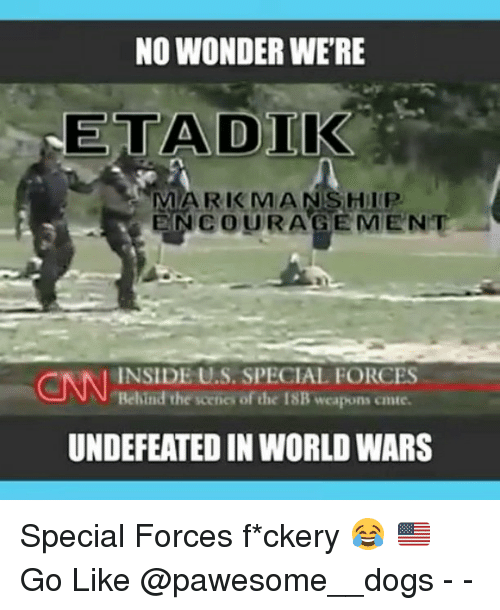 special forces: NO WONDER WERE  NETA DIK  MARK MAN SHIP  ENe OURAGEMENT  CNN Behind the scene of the 18B weapons omte.  INSIDE U.S. SPECIAL FORCES  UNDEFEATED IN WORLDWARS Special Forces f*ckery 😂 🇺🇸 Go Like @pawesome__dogs - -