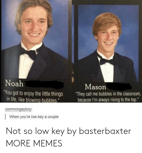 "little things: Noah  Mason  ""You got to enjoy the little things  in life, like blowing bubbles  They call me bubbles in the classroom,  because I'm always rising to the top""  commongayboy:  When you're low key a couple Not so low key by basterbaxter MORE MEMES"