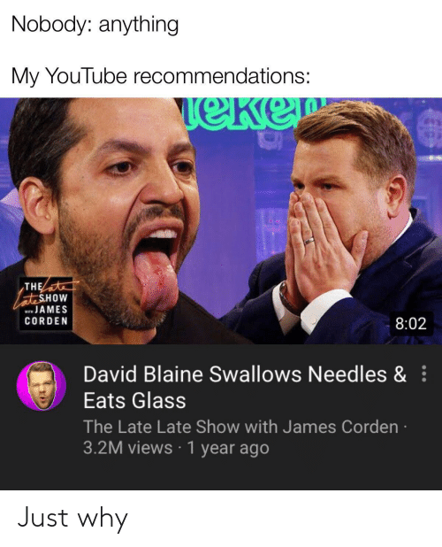 Reddit, youtube.com, and James Corden: Nobody: anything  My YouTube recommendations:  TeKe  THE  ateSHOW  wJAMES  ITH  CORDEN  8:02  David Blaine Swallows Needles &  Eats Glass  The Late Late Show with James Corden  3.2M views 1 year ago Just why