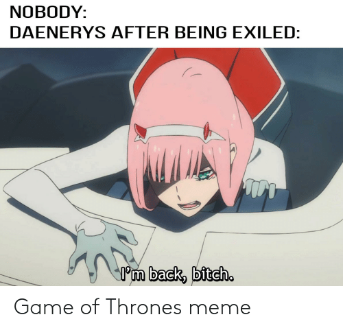 Thrones Meme: NOBODY:  DAENERYS AFTER BEING EXILED:  Pm back, bitch. Game of Thrones meme