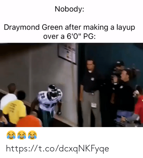 """layup: Nobody:  Draymond Green after making a layup  over a 6'0"""" PG: 😂😂😂 https://t.co/dcxqNKFyqe"""