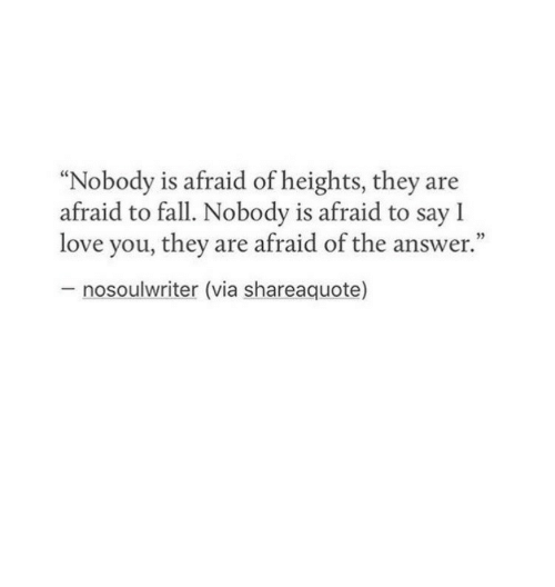 """Afraid Of Heights: """"Nobody is afraid of heights, they are  afraid to fall. Nobody is afraid to say l  love you, they are afraid of the answer.""""  nosoulwriter (via shareaquote)"""