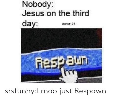 third day: Nobody:  Jesus on the third  day:  Aunra123  Pro srsfunny:Lmao just Respawn