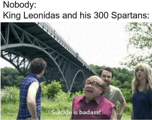 spartans: Nobody:  King Leonidas and his 300 Spartans;  Suicide is badass