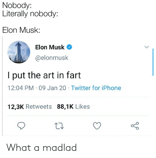 Elonmusk: Nobody:  Literally nobody:  Elon Musk:  Elon Musk O  @elonmusk  I put the art in fart  12:04 PM · 09 Jan 20 · Twitter for iPhone  12,3K Retweets 88,1K Likes What a madlad