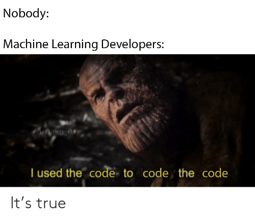Developers: Nobody:  Machine Learning Developers:  nko_0+  I used the code to code the code It's true