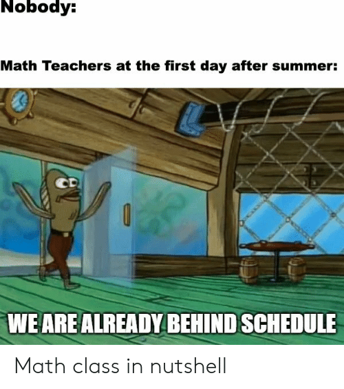 math class: Nobody:  Math Teachers at the first day after summer:  CD  WE ARE ALREADY BEHIND SCHEDULE Math class in nutshell
