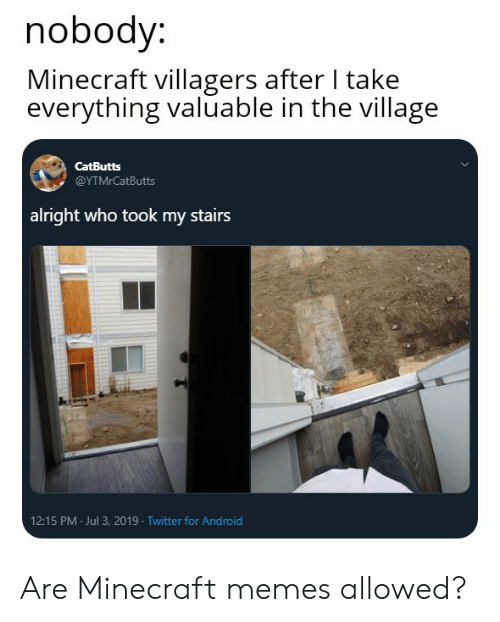 The Village: nobody:  Minecraft villagers after I take  everything valuable in the village  CatButts  @ΥΤMrCatButts  alright who took my stairs  12:15 PM Jul 3, 2019 Twitter for Android Are Minecraft memes allowed?