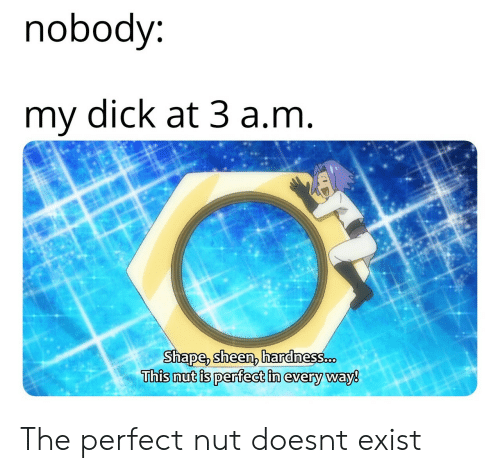 sheen: nobody  my dick at 3 a.nm  Shape, sheen, hardnes8.cD  This nut is perfect in every way8 The perfect nut doesnt exist