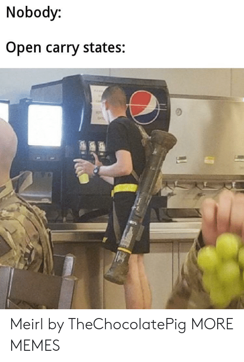 Open Carry: Nobody:  Open carry states: Meirl by TheChocolatePig MORE MEMES