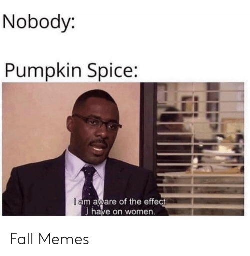 spice: Nobody:  Pumpkin Spice:  l am aware of the effect  have on women Fall Memes