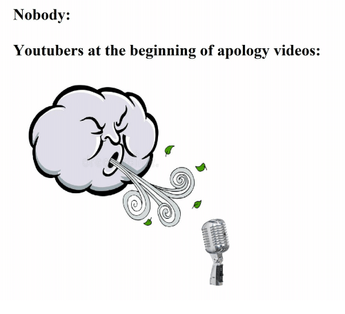 youtubers: Nobody:  Youtubers at the beginning of apology videos: