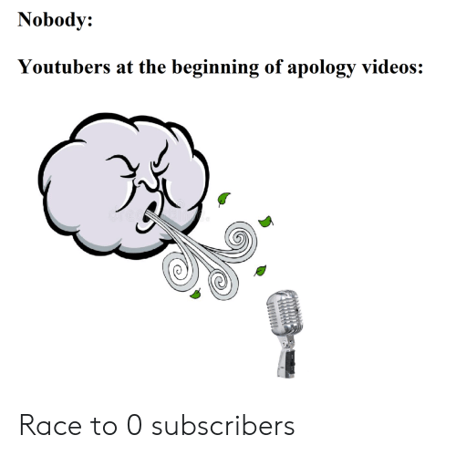 youtubers: Nobody:  Youtubers at the beginning of apology videos: Race to 0 subscribers