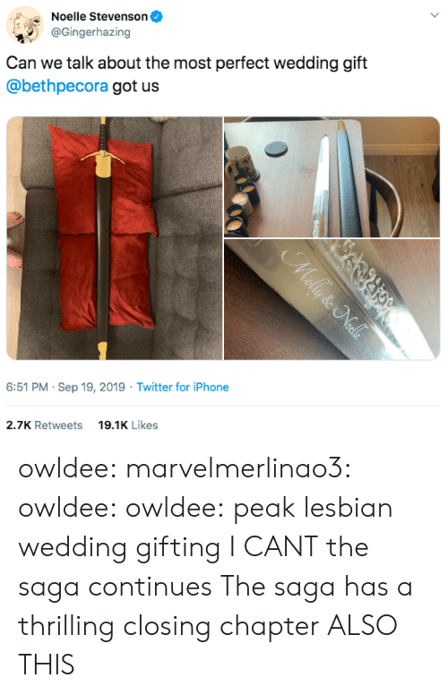 saga: Noelle Stevenson  @Gingerhazing  Can we talk about the most perfect wedding gift  @bethpecora got us  6:51 PM Sep 19, 2019 Twitter for iPhone  19.1K Likes  2.7K Retweets  Mally & Nalls owldee: marvelmerlinao3:  owldee:  owldee: peak lesbian wedding gifting I CANT the saga continues   The saga has a thrilling closing chapter   ALSO THIS