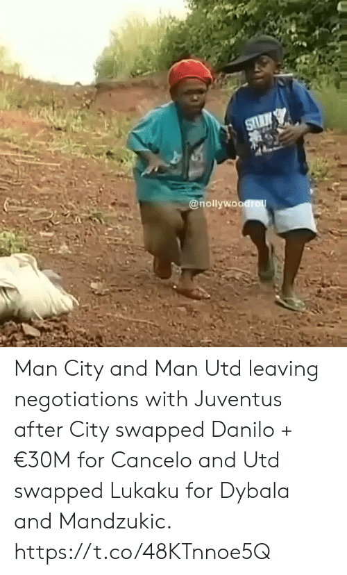 Lukaku: @nollywoodro Man City and Man Utd leaving negotiations with Juventus after City swapped Danilo + €30M for Cancelo and Utd swapped Lukaku for Dybala and Mandzukic. https://t.co/48KTnnoe5Q