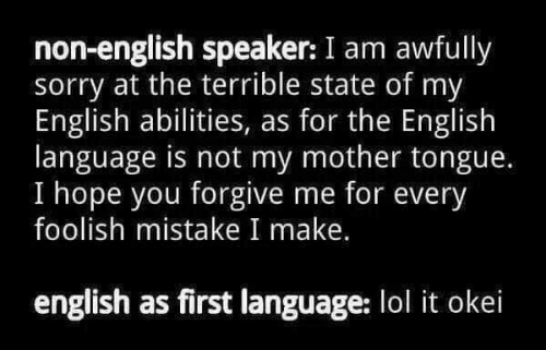 speaker: non-english speaker: I am awfully  sorry at the terrible state of my  English abilities, as for the English  language is not my mother tongue.  I hope you forgive me for every  foolish mistake I make.  english as first language: lol it okei