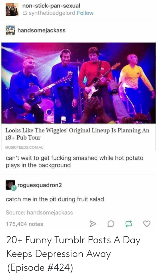 salad: non-stick-pan-sexual  syntheticedgelord Follow  handsomejackass  Looks Like The Wiggles' Original Lineup Is Planning An  18+ Pub Tour  MUSICFEEDS.COM.AU  can't wait to get fucking smashed while hot potato  plays in the background  roguesquadron2  catch me in the pit during fruit salad  Source: handsomejackass  175,404 notes  A 20+ Funny Tumblr Posts A Day Keeps Depression Away (Episode #424)