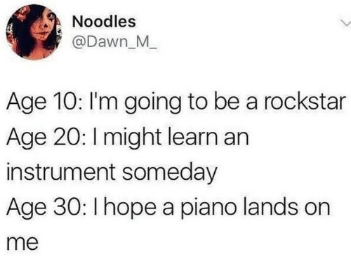 rockstar: Noodles  @Dawn M  Age 10: I'm going to be a rockstar  Age 20: I might learn an  instrument someday  Age 30: I hope a piano lands on  me