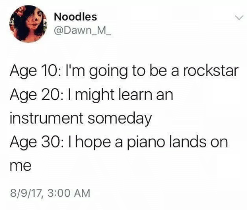 rockstar: Noodles  @Dawn_M  Age 10: I'm going to be a rockstar  Age 20: I might learn an  instrument someday  Age 30: Ihope a piano lands on  me  8/9/17, 3:00 AM