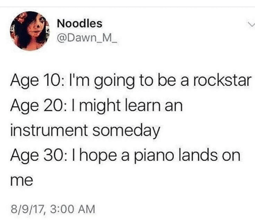 noodles: Noodles  @Dawn_M_  Age 10: I'm going to be a rockstar  Age 20: Imight learn an  instrument someday  Age 30: I hope a piano lands on  me  8/9/17, 3:00 AM