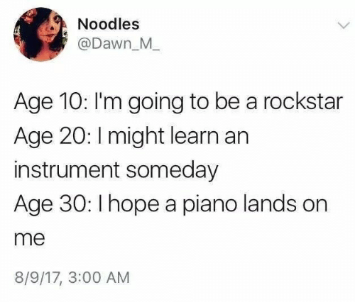 noodles: Noodles  @Dawn_M  Age 10: I'm going to be a rockstar  Age 20: I might learn an  instrument someday  Age 30: Ihope a piano lands on  me  8/9/17, 3:00 AM