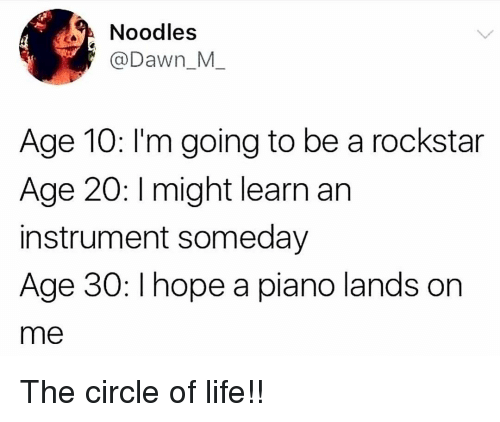 rockstar: Noodles  @Dawn_M  Age 10: l'm going to be a rockstar  Age 20: I might learn an  instrument someday  Age 30: I hope a piano lands orn  me The circle of life!!