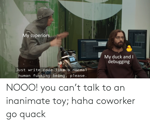 coworker: NOOO! you can't talk to an inanimate toy; haha coworker go quack