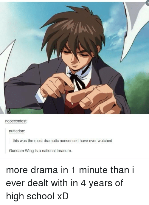 Memes, School, and Watch: nopecontest:  nuttedon:  this was the most dramatic nonsense i have ever watched  Gundam Wing is a national treasure. more drama in 1 minute than i ever dealt with in 4 years of high school xD