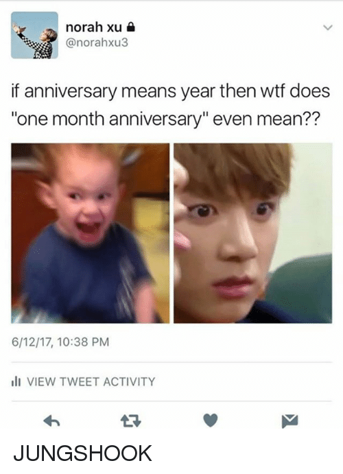 """Memes, Wtf, and Mean: norah xu  anorahxu3  if anniversary means year then wtf does  """"one month anniversary"""" even mean??  6/12/17, 10:38 PM  ill VIEW TWEET ACTIVITY JUNGSHOOK"""