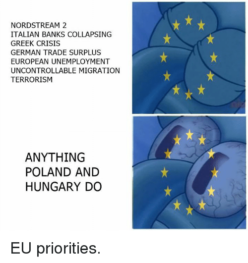 Memes, Banks, and Germanic: NORDSTREAM 2  ITALIAN BANKS COLLAPSING  GREEK CRISIS  GERMAN TRADE SURPLUS  EUROPEAN UNEMPLOYMENT  UNCONTROLLABLE MIGRATION  TERRORISM  ANYTHING  POLAND AND  HUNGARY DO EU priorities.