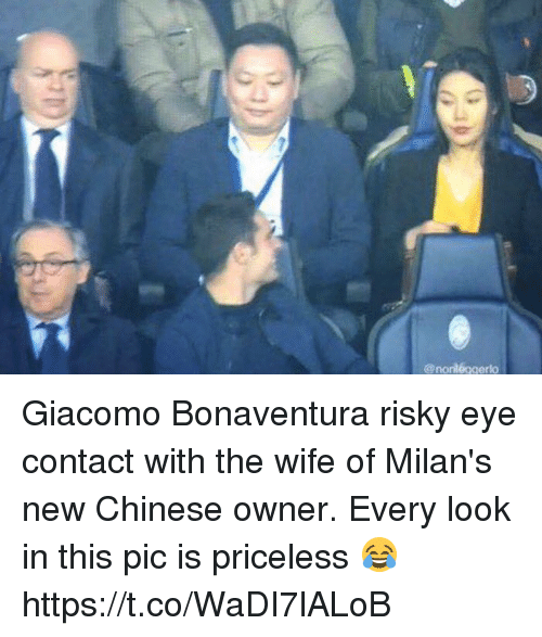 Soccer, Chinese, and Wife: @norl6ggerlo Giacomo Bonaventura risky eye contact with the wife of Milan's new Chinese owner. Every look in this pic is priceless 😂 https://t.co/WaDI7lALoB