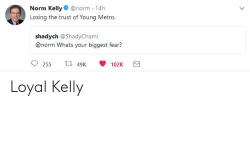 Norm Kelly: Norm Kelly@norm-14h  Losing the trust of Young Metro.  shadych @ShadyChami  00rtorrn W iggesĩ: isar?  hats your bi  255 t 49 102K Loyal Kelly