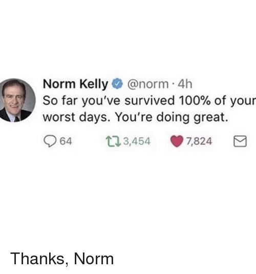 Norm Kelly: Norm Kelly@norm 4h  S, ) So far you've survived 100% of your  worst days. You're doing great.  64 t3,454 7,824 <p>Thanks, Norm</p>