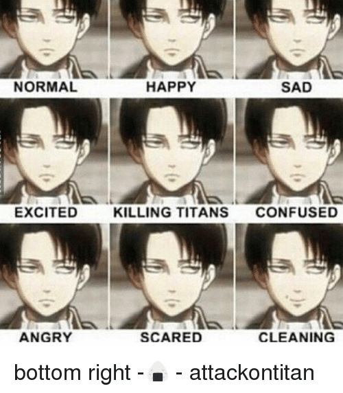 Happy Sad: NORMAL  EXCITED  ANGRY  HAPPY  SAD  KILLING TITANS  CONFUSED  SCARED  CLEANING bottom right -🍙 - attackontitan