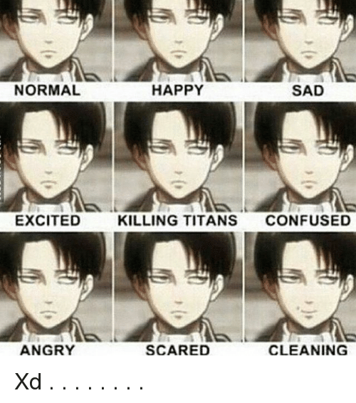 Confused, Memes, and Happy: NORMAL  EXCITED  ANGRY  HAPPY  SAD  KILLING TITANS  CONFUSED  SCARED  CLEANING Xd . . . . . . . .
