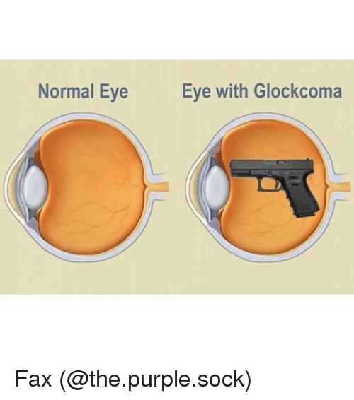 Memes, 🤖, and Eye: Normal Eye  Eye with Glockcoma Fax (@the.purple.sock)