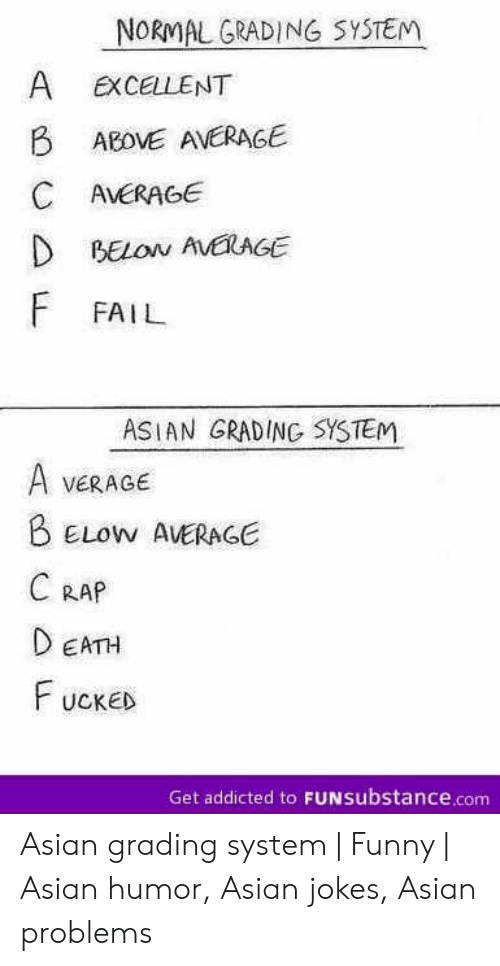 funny asian: NORMAL GRADING SYSTEM  A  EXCELLENT  B  ABOVE AVERAGE  C AVERAGE  D BELON AVEAGE  F FAIL  ASIAN GRADING SYSTEM  A  VERAGE  BELOW AVERAGE  C RAP  DEATH  FUCKED  Get addicted to FUNSubstance.com Asian grading system | Funny | Asian humor, Asian jokes, Asian problems