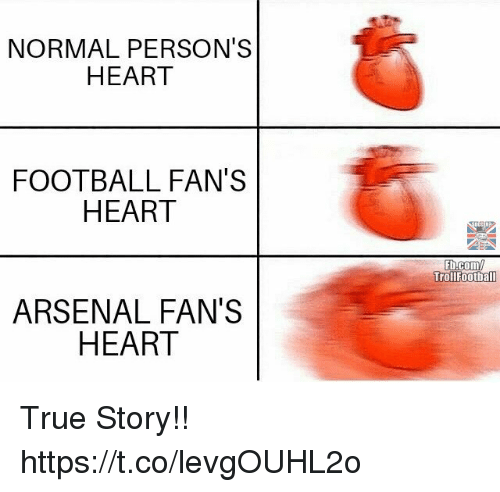 Arsenal, Football, and Memes: NORMAL PERSON'S  HEART  FOOTBALL FAN'S  HEART  Fb.com/  ARSENAL FAN'S  HEART True Story!! https://t.co/levgOUHL2o