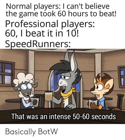 Cant Believe: Normal players: I can't believe  the game took 60 hours to beat!  Professional players:  60, I beat it in 10!  SpeedRunners:  That was an intense 50-60 seconds Basically BotW