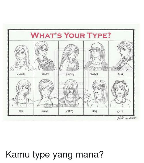 Cute, Indonesian (Language), and Mana: NORMAL  WHAT'S YOUR TYPE?  GEEKy  TOMBoy  CRA2y  SUNNY  LADY  PUNK  CUTE Kamu type yang mana?