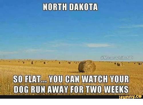 Girl Memes: NORTH DAKOTA  Meanwhile ND  SO FLAT... YOU CAN WATCH YOUR  DOG RUN AWAY FOR TWO WEEKS  ,CO  funny