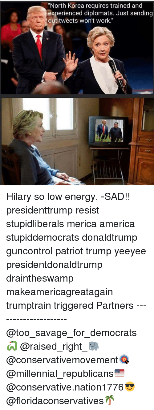 "Hilary: ""North Korea requires trained and  experienced diplomats. Just sending  out tweets won't work."" Hilary so low energy. -SAD!! presidenttrump resist stupidliberals merica america stupiddemocrats donaldtrump guncontrol patriot trump yeeyee presidentdonaldtrump draintheswamp makeamericagreatagain trumptrain triggered Partners --------------------- @too_savage_for_democrats🐍 @raised_right_🐘 @conservativemovement🎯 @millennial_republicans🇺🇸 @conservative.nation1776😎 @floridaconservatives🌴"
