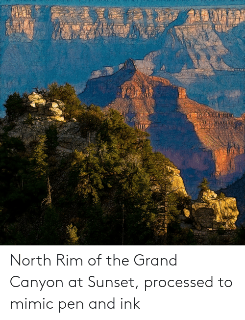 ink: North Rim of the Grand Canyon at Sunset, processed to mimic pen and ink